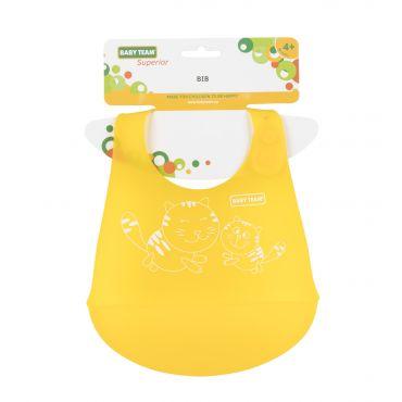 Нагрудник силіконовий жовтий, Baby Team, 6591