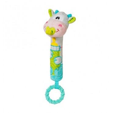 Іграшка-пищалка з прорізувачем корівка, BabyOno, 1357