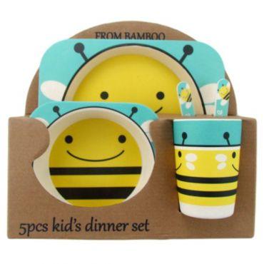 """Бамбуковий набір дитячого посуду """"Бджілка"""", Stenson, MH-2770-2"""