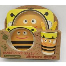 """Бамбуковий набір дитячого посуду """"Бджілка"""", Stenson, MH-2770-3"""