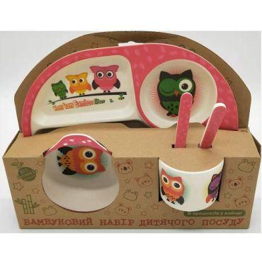 """Бамбуковий набір дитячого посуду """"Сови"""", Stenson, MH-2773-2"""