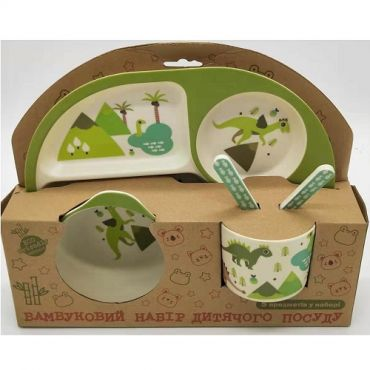 """Бамбуковий набір дитячого посуду """"Динозаври"""", Stenson, MH-2773-4"""