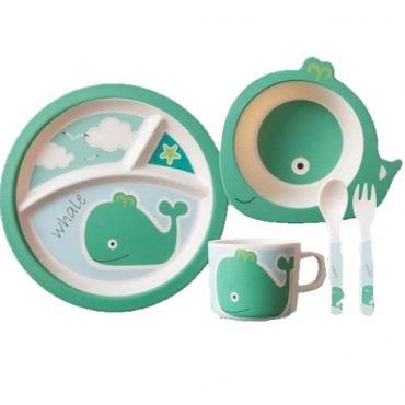 """Бамбуковий набір дитячого посуду """"Кит"""", Stenson, MH-2771-3"""