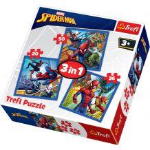 """Набір пазлів Trefl 3в1 """"Spiderman"""", 20 + 36 + 50 деталей, 34841"""