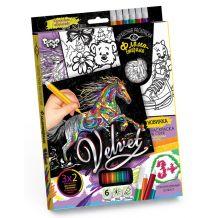 "Набір креативної творчості ""Бархатна розмальовка фломастерами Velvet"", Danko Toys, VLV-01-05"