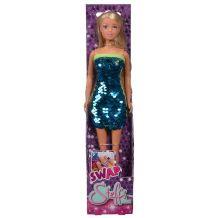 Лялька Штеффі синя сукня з двохсторонніми паєтками, Simba, 5733366