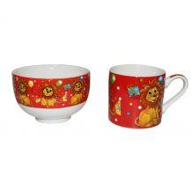 Набор детской посуды чашка и супница Львенок, Stenson, R29859