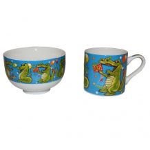 Набор детской посуды чашка и супница Крокодил, Stenson, R29859