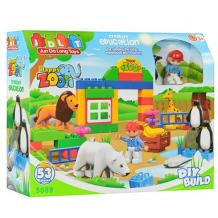 "Конструктор (аналог Lego Duplo) ""Зоопарк"" 53 деталі, JDLT, 5089"