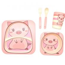 """Бамбуковий набір дитячого посуду """"Свинка"""", Stenson, MH-2770-23"""
