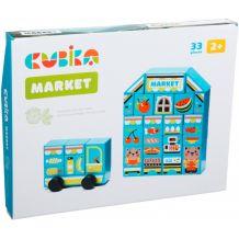 Дерев'яний конструктор Супермаркет 33 елемента, Cubika, 15122