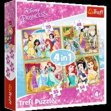 """Набір пазлів Trefl 4в1 """"Радісний день принцес"""", 54 + 35 + 48 +70 деталей, 34309"""