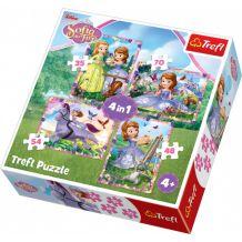 """Набір пазлів Trefl 4в1 """"Світ принцеси Софії"""", 54 + 35 + 48 +70 деталей, 34314"""