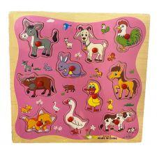 """Деревянная игрушка-пазл """"Рамка-вкладыш Домашние животные"""", Toys, C39076"""