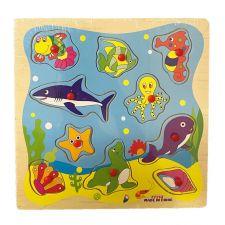 """Деревянная игрушка-пазл """"Рамка-вкладыш Подводный мир"""", Toys, C39076"""