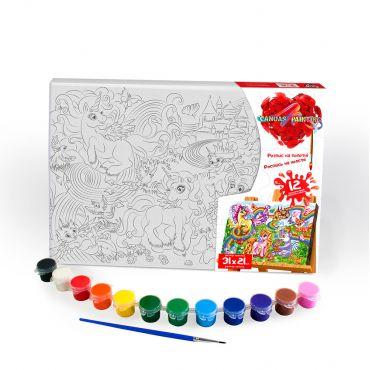 """Набір для творчості """"Картина за номерами. Звірі 31х21см"""", Danko Toys, РХ-06-02"""