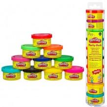 Набор пластилина Hasbro Play Doh для праздника из 10 мини-баночек в тубусе, 22037