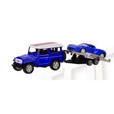 """Модель """"Автопром""""Машина з причепом, синього кольору (1:50) звуки та світло, 7415"""