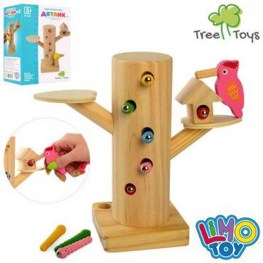 Дерев'яна іграшка магнітна рибалка Дятел з гусеницями, Limo Toy, MD 2850