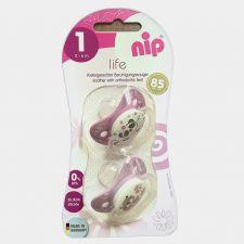 Силіконова пустушка Life , 0-6 міс, 2шт, рожева панда/коник Nip, 313019