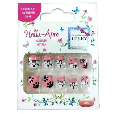 Дитячі багаторазові накладні нігтики Нейл-Арт Kitty, LUKKY, T19422