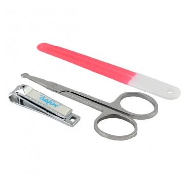 Набір косметичний: пилочка, ножиці, щипчики рожеві, 068