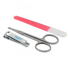 Набір косметичний: пилочка, ножиці, щипчики рожеві, BabyOno, 068