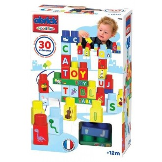Конструктор набір кубиків з буквами (латиниця) 30 деталей, abrick, 7708