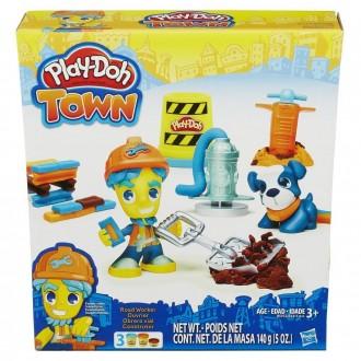 """Набір пластиліну Play-Doh Town """"Дорожній робітник і щеня"""", B3411"""