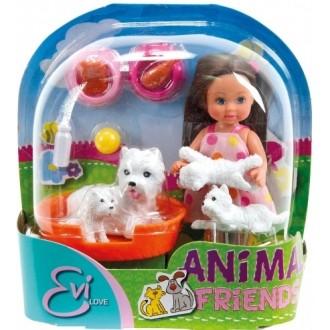 Лялька Еві з тваринками, 12 см, 5734191